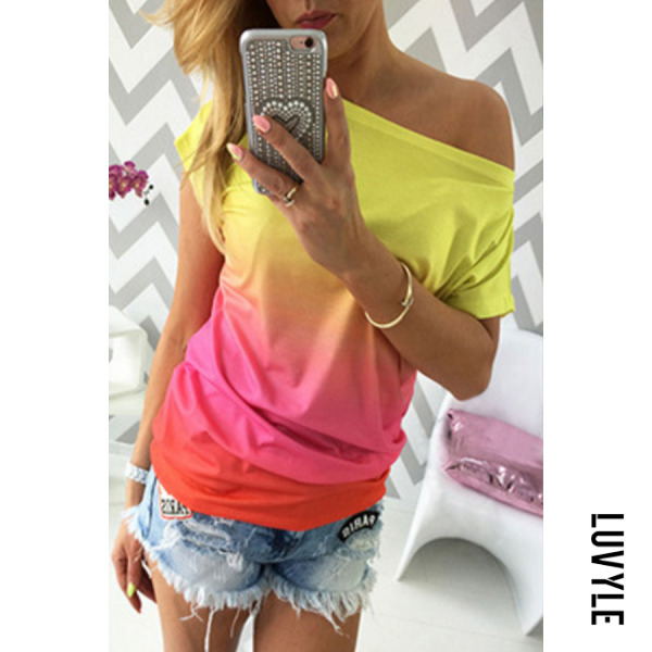 Pink One Shoulder Gradient T-Shirts Pink One Shoulder Gradient T-Shirts