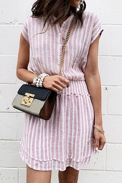 Round Neck  Single Breasted  Stripes  Sleeveless Casual Dresses