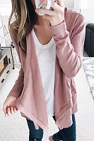 Irregular Turndown Collar Long Sleeve Plain Cardigan