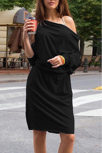 Off Shoulder Elastic Waist Plain Casual Dress