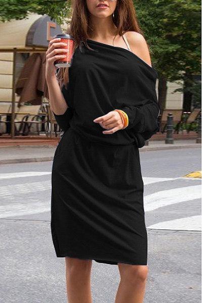 Off Shoulder Elastic Waist Plain Casual Dress