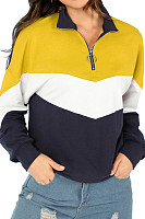 Band  Collar  Zipper  Patchwork   Sweatshirts