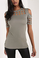 Open Shoulder Round Neck  Asymmetric Hem  Hollow Out Plain T-Shirts