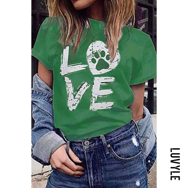 Green Casual Round Neck Letter Print Short Sleeve T-Shirt Green Casual Round Neck Letter Print Short Sleeve T-Shirt