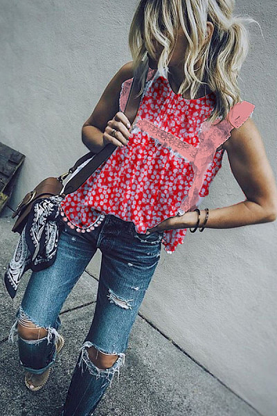 Round Neck  Decorative Lace  Printed  Blouses