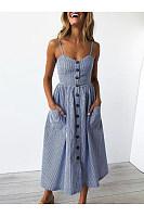 Spaghetti Strap Vertical Striped Patch Pocket Skater Dress
