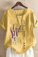 Vintage Lavender Printed Casual Loose Blouse