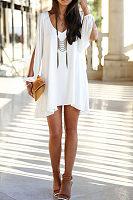 V Neck  Asymmetric Hem  Plain Casual Dresses