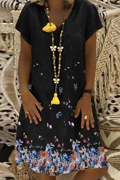 V Neck Short Sleeve Floral Printed Casual Dresses