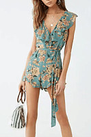 Deep V Neck  Printed  Extra Short Sleeve Playsuits