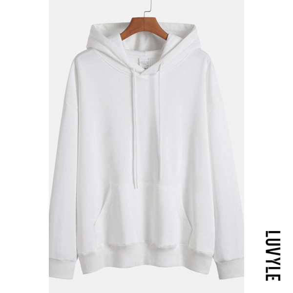 White Knit Solid Color Loose Drawstring Hoodie White Knit Solid Color Loose Drawstring Hoodie