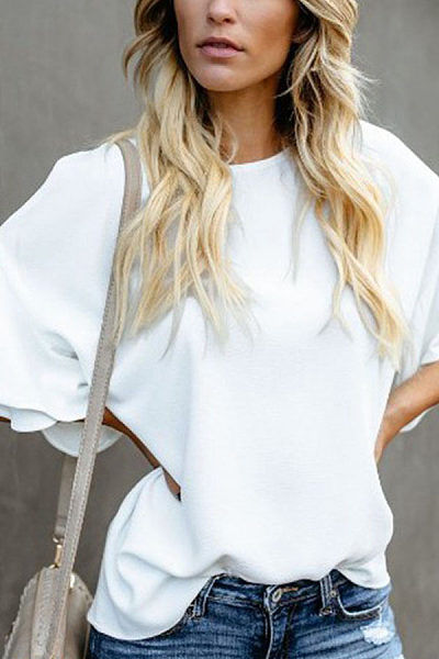 Round Neck Plain Short Flare Sleeve Casual Blouses