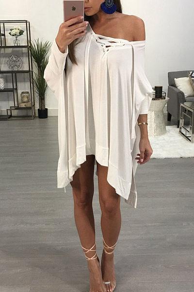 V Neck  Lace Up  Plain Casual Dresses