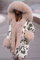 Fashion camouflage warm hooded big fur collar down Fluffy Coat