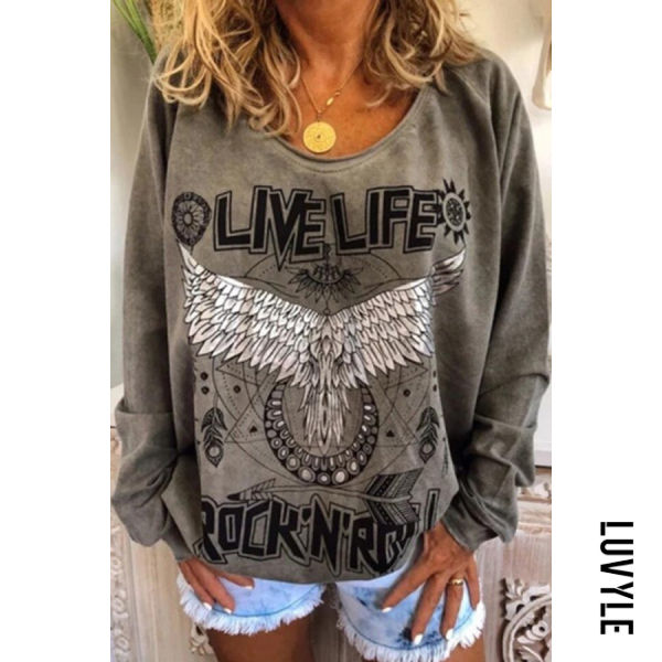 Gray Loose round neck printed hoodie for women Gray Loose round neck printed hoodie for women