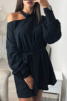Asymmetric Neck  Belt  Plain  Sweatshirts