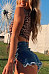 Round Neck  Exposed Navel  Leopard Printed Bikini