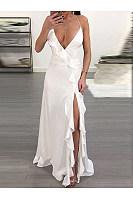 Spaghetti Strap  Slit  Plain Maxi Dress