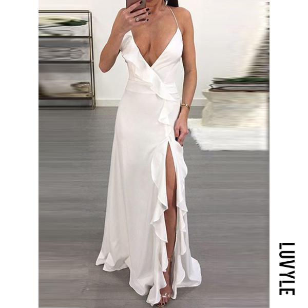 White Spaghetti Strap Slit Plain Maxi Dress White Spaghetti Strap Slit Plain Maxi Dress