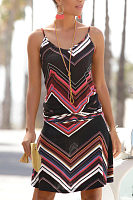 Spaghetti Strap  Striped  Sleeveless Casual Dresses