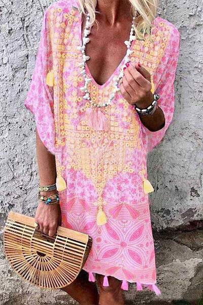 V Neck Short Sleeve Bohemian Casual Dress