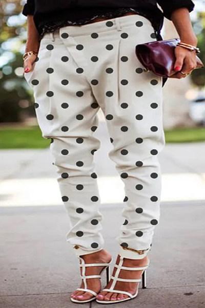 Polka Dot Casual Long Pants