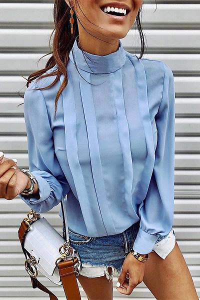 Fashion Design Short High Collar Long Sleeve Pure Colour Blouse