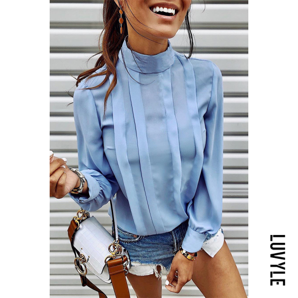 Fashion Design Short High Collar Long Sleeve Pure Colour Blouse