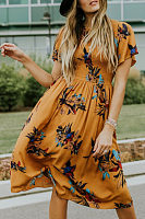 Round Neck  Floral Printed  Short Sleeve Maxi Dresses