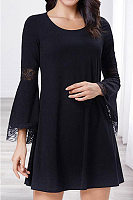 Round Neck Lace-Up Plain Casual Dress