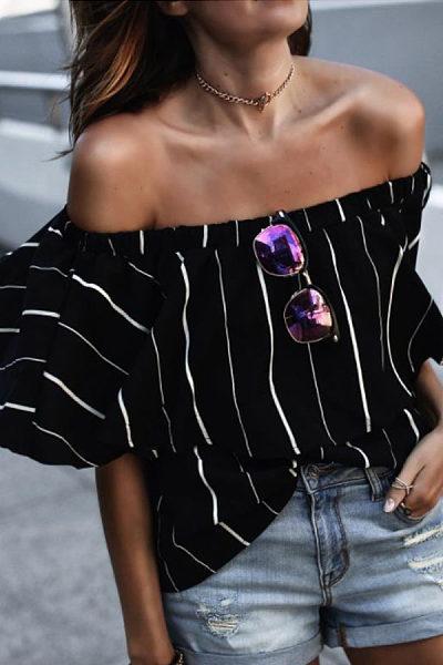 Off Shoulder  Striped T-Shirts