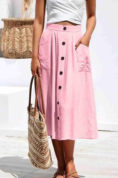 Single Breasted  Plain Skirts