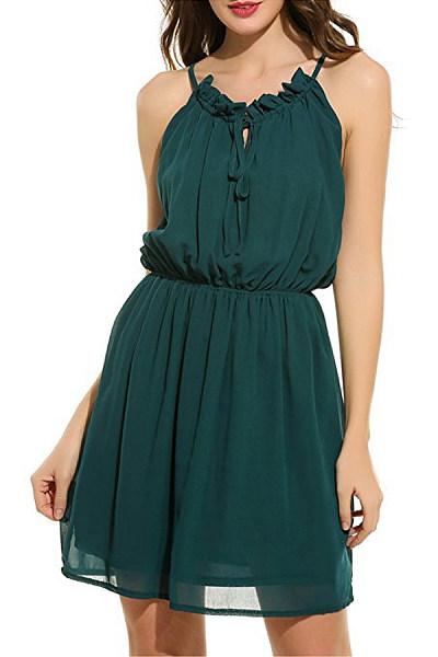 Spaghetti Strap  Elastic Waist  Plain  Sleeveless Skater Dresses