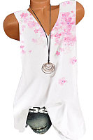 V Neck Printed SLeeveless T-shirt
