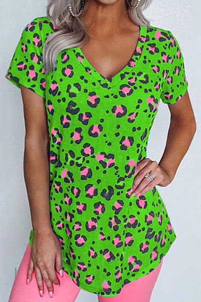 Color Leopard V Neck T-shirt