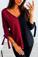 Fashion V-collar spliced T-shirt