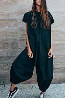Round Neck  Plain  Short Sleeve Jumpsuits