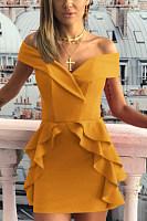 Off Shoulder  Plain  Short Sleeve Bodycon Dresses