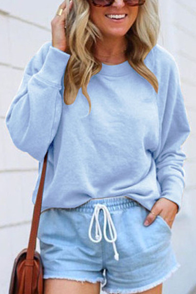 Solid Long Sleeve Loose Sweatshirt