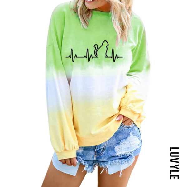 Green Casual Gradient Print Round Neck T-Shirt Green Casual Gradient Print Round Neck T-Shirt