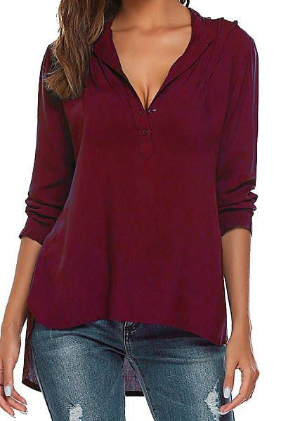 V Neck  Asymmetric Hem Single Breasted  Plain Shirts