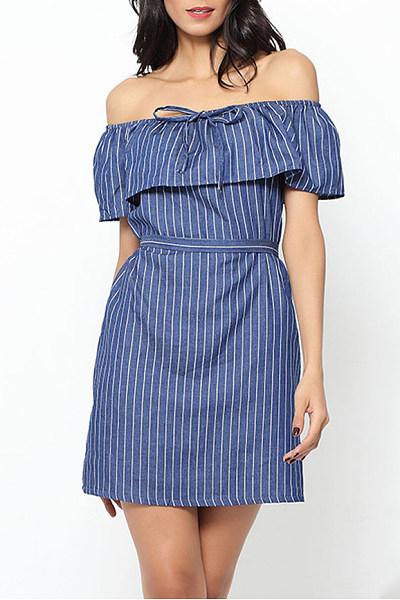Off Shoulder Flounce Stripes Casual Dress