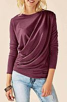 Round Neck  Plain Pleated Bodice T-Shirts