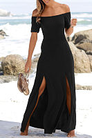 Off Shoulder  Slit  Plain  Short Sleeve Maxi Dresses