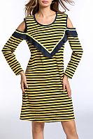 Round Neck  Ruffle Trim  Striped Casual Dresses