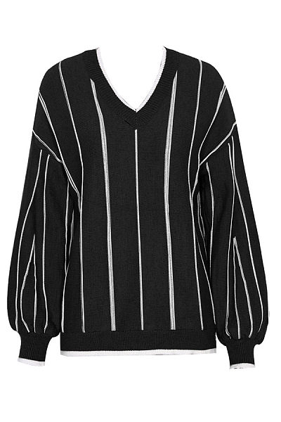 Casual V Neck Loose-Fitting Striped Sweater
