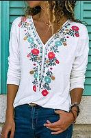 Fashion V Neck Long Sleeve Splicing Printed Color T-shirt