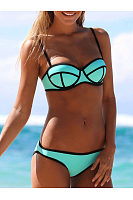 Spaghetti Strap  Contrast Trim  Contrast Stitching  Plain Bikini