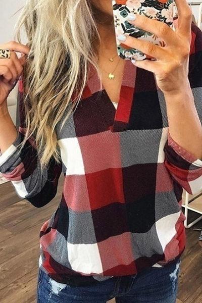Casual V-Neck Plaid Colorblock Print Long Sleeve Shirt