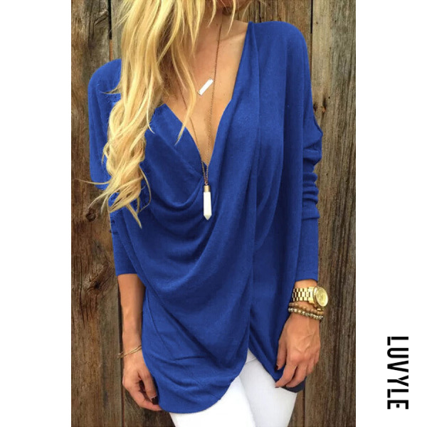 Blue Deep V Neck Asymmetric Hem Plain Batwing Sleeve T-Shirts Blue Deep V Neck Asymmetric Hem Plain Batwing Sleeve T-Shirts